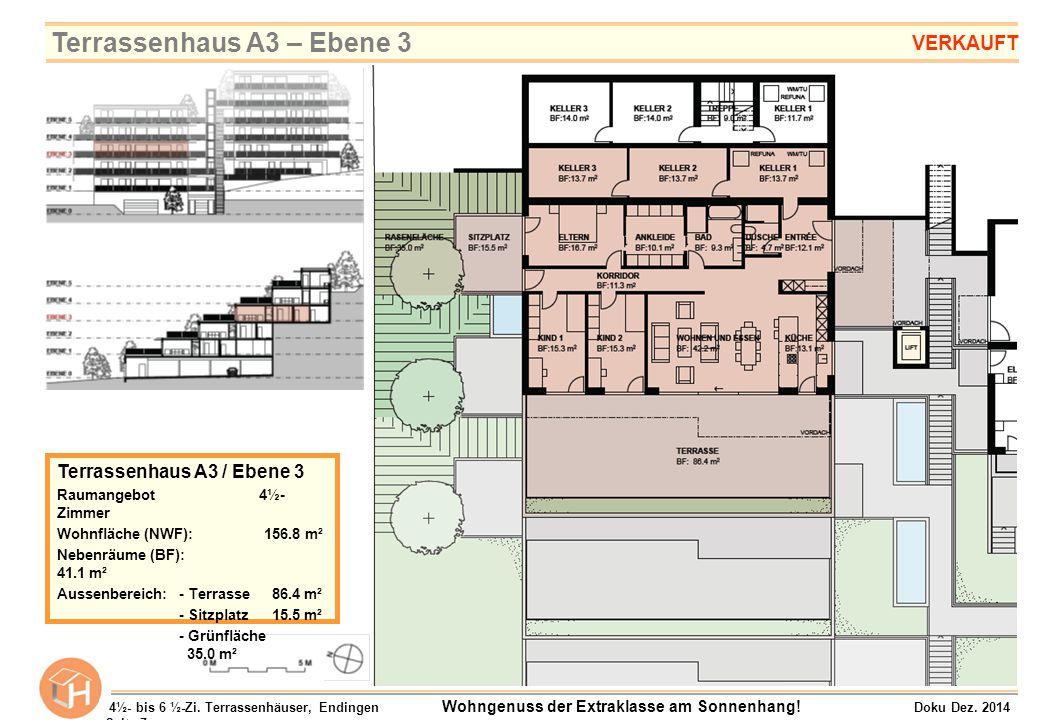 Terrassenhaus A3 / Ebene 3 Raumangebot 4½- Zimmer Wohnfläche (NWF):156.8 m² Nebenräume (BF): 41.1 m² Aussenbereich:- Terrasse 86.4 m² - Sitzplatz 15.5