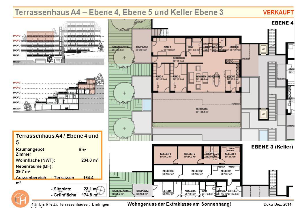 EBENE 3 (Keller) Terrassenhaus A4 / Ebene 4 und 5 Raumangebot 6½- Zimmer Wohnfläche (NWF): 234.0 m² Nebenräume (BF): 39.7 m² Aussenbereich:- Terrassen