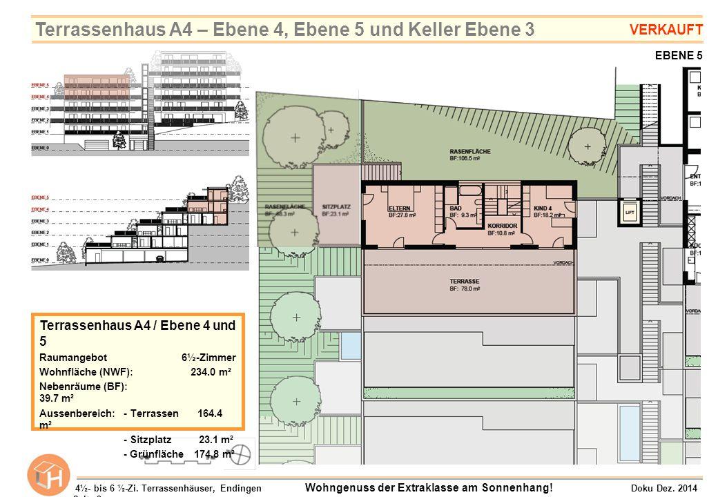 EBENE 3 EBENE 2 Terrassenhaus B5 / Ebene 2 und 3 Raumangebot 5½-Zimmer Wohnfläche (NWF): 175.5 m² Nebenräume (BF): 35.5 m² Aussenbereich:- Terrasse 70.2 m² - Balkon 28.6 m² - Grünfläche 101.3 m² 4½- bis 6 ½-Zi.