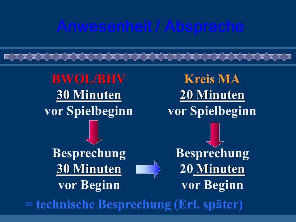 Anwesenheit / Absprache BWOL/BHV 30 Minuten 30 Minuten vor Spielbeginn Kreis MA 20 Minuten 20 Minuten vor Spielbeginn 30 Minuten Besprechung 30 Minute