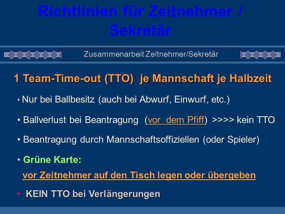 Richtlinien für Zeitnehmer / Sekretär Zusammenarbeit Zeitnehmer/Sekretär 1 Team-Time-out (TTO) je Mannschaft je Halbzeit Nur bei Ballbesitz (auch bei