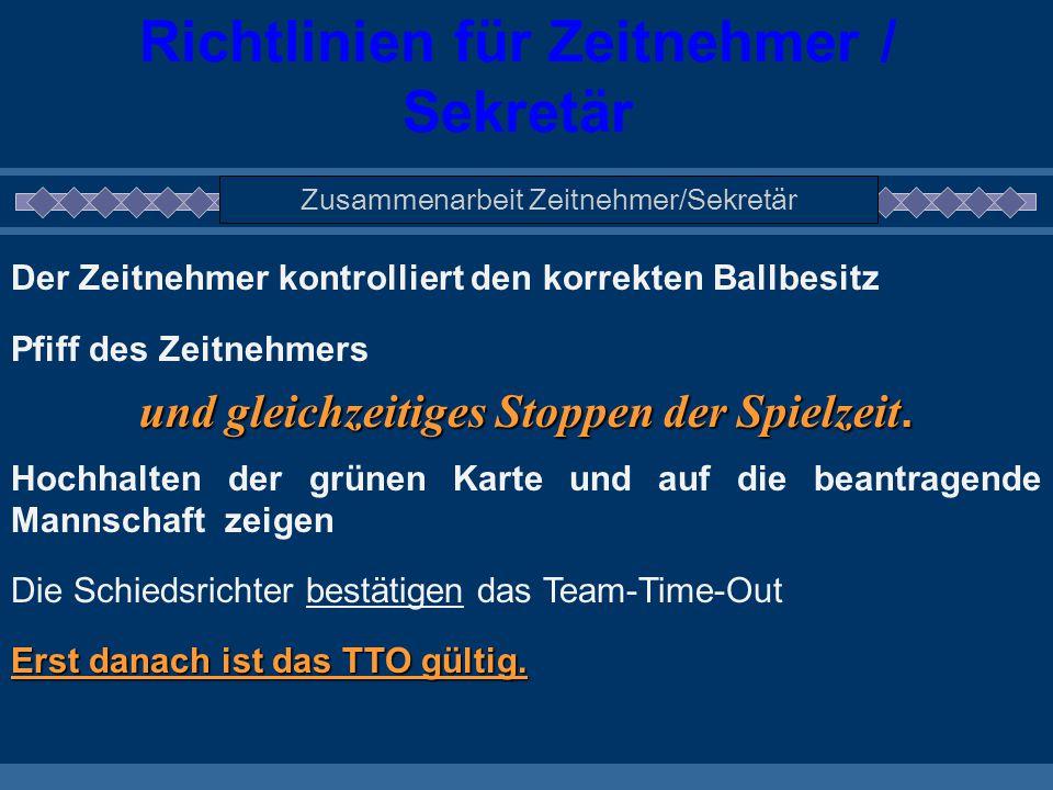 Richtlinien für Zeitnehmer / Sekretär Zusammenarbeit Zeitnehmer/Sekretär Der Zeitnehmer kontrolliert den korrekten Ballbesitz Pfiff des Zeitnehmers un