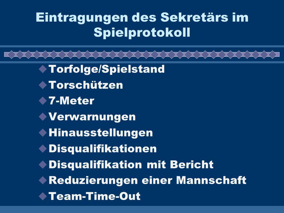 Eintragungen des Sekretärs im Spielprotokoll  Torfolge/Spielstand  Torschützen  7-Meter  Verwarnungen  Hinausstellungen  Disqualifikationen  Di
