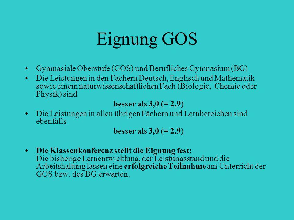 Eignung GOS Gymnasiale Oberstufe (GOS) und Berufliches Gymnasium (BG) Die Leistungen in den Fächern Deutsch, Englisch und Mathematik sowie einem natur
