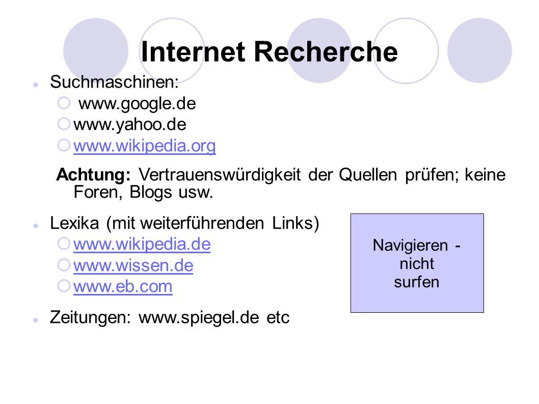 Internet Recherche Suchmaschinen:  www.google.de  www.yahoo.de  www.wikipedia.org www.wikipedia.org Achtung: Vertrauenswürdigkeit der Quellen prüfen; keine Foren, Blogs usw.