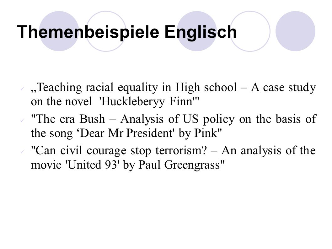 "Themenbeispiele Englisch ""Teaching racial equality in High school – A case study on the novel 'Huckleberyy Finn'"