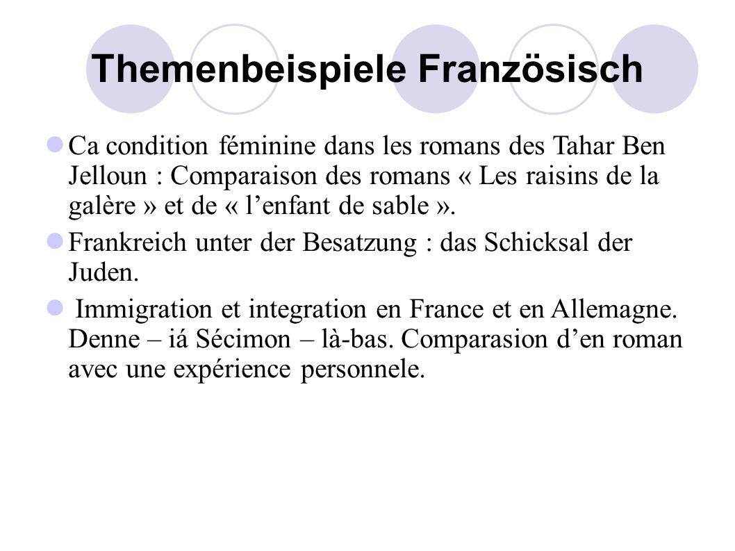 Themenbeispiele Französisch Ca condition féminine dans les romans des Tahar Ben Jelloun : Comparaison des romans « Les raisins de la galère » et de « l'enfant de sable ».