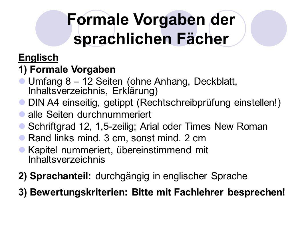 Französisch 1) Formale Vorgaben s.