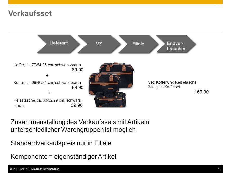 ©2012 SAP AG. Alle Rechte vorbehalten.10 Verkaufsset Lieferant VZ Filiale Endver- braucher Koffer, ca. 77/54/25 cm, schwarz-braun 89,90 + Koffer, ca.