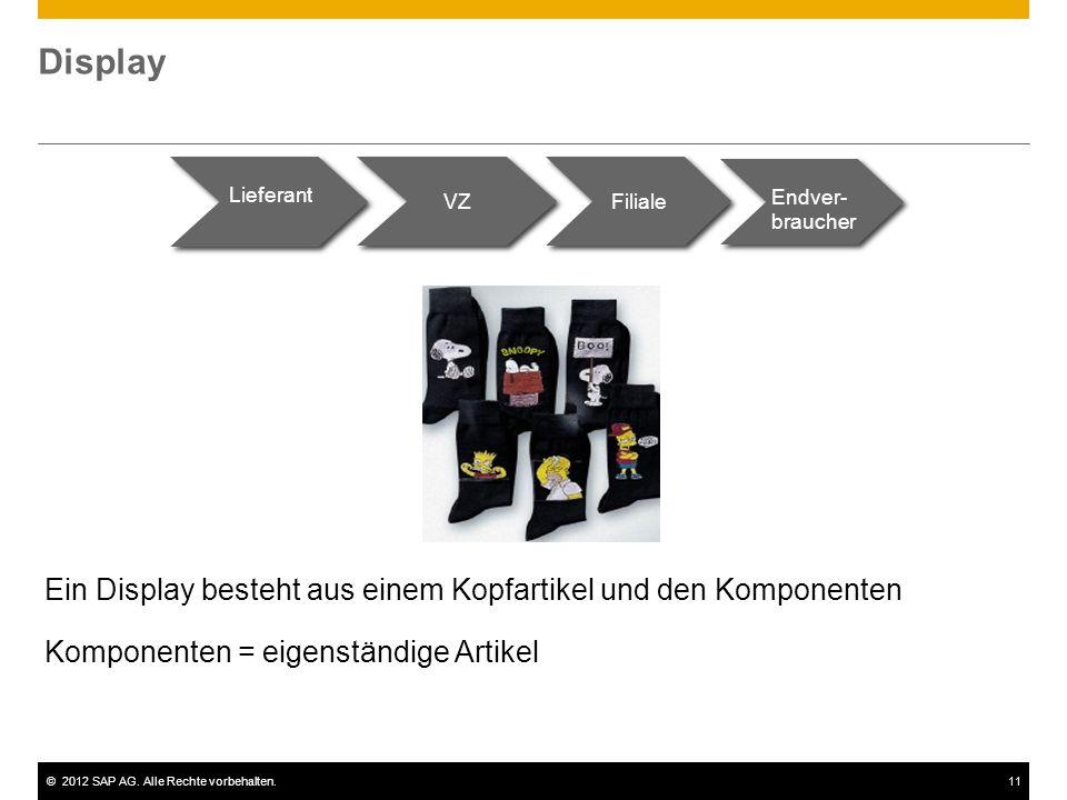 ©2012 SAP AG. Alle Rechte vorbehalten.11 Display Lieferant VZ Filiale Endver- braucher Ein Display besteht aus einem Kopfartikel und den Komponenten K