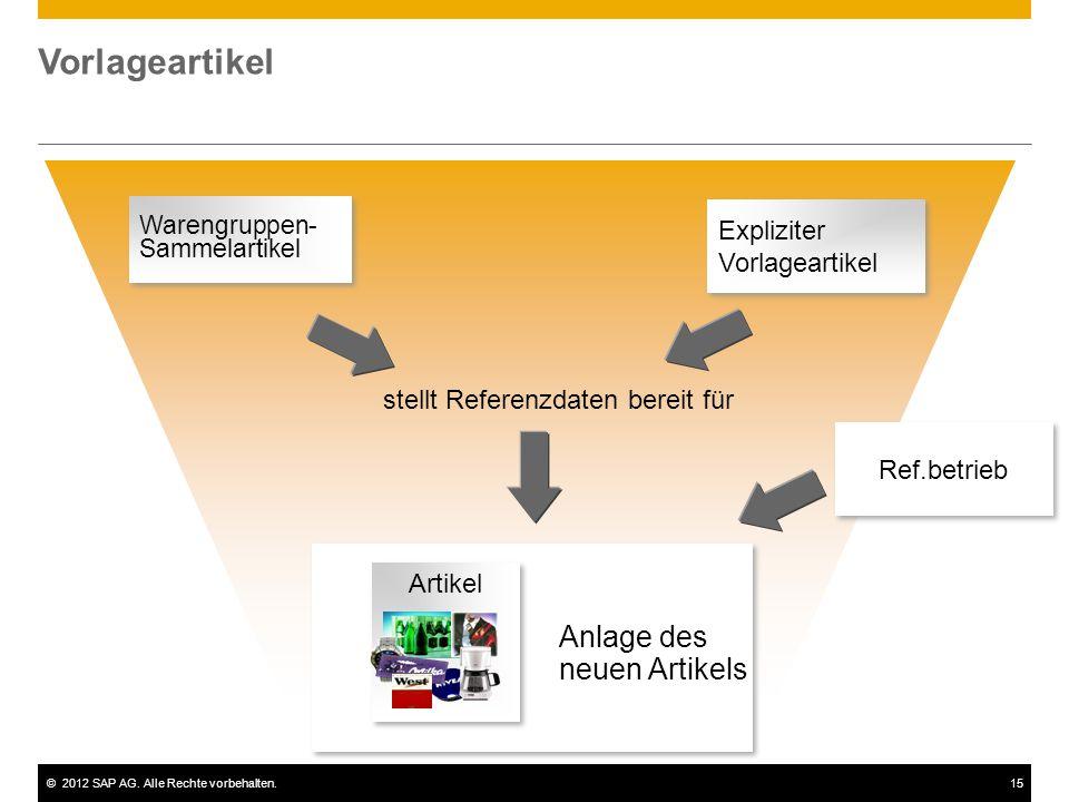 ©2012 SAP AG. Alle Rechte vorbehalten.15 Vorlageartikel Warengruppen- Sammelartikel Warengruppen- Sammelartikel stellt Referenzdaten bereit für Anlage