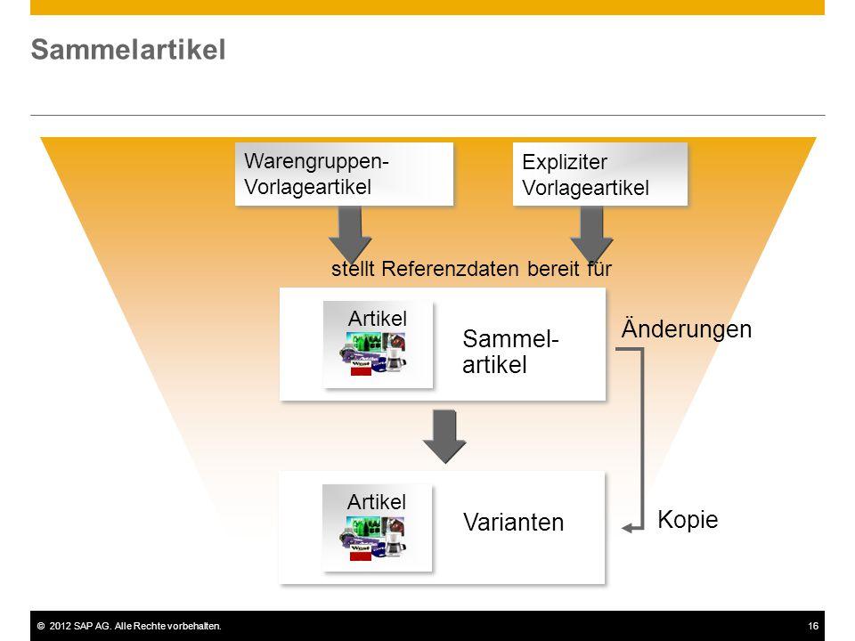 ©2012 SAP AG. Alle Rechte vorbehalten.16 Sammelartikel Expliziter Vorlageartikel Expliziter Vorlageartikel Warengruppen- Vorlageartikel Änderungen Kop