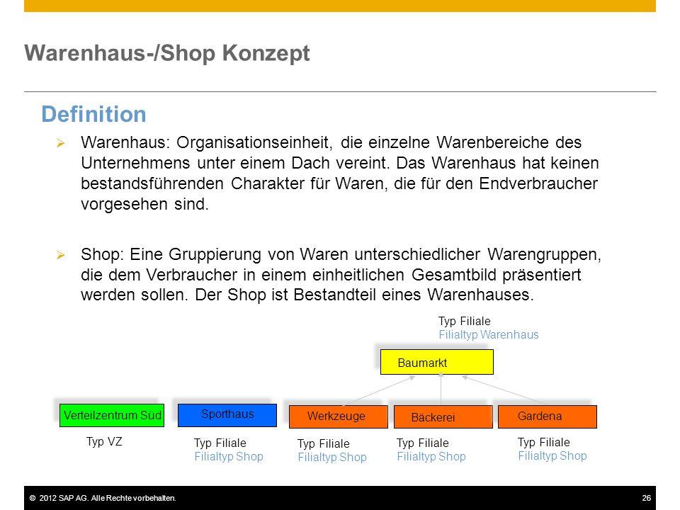 ©2012 SAP AG. Alle Rechte vorbehalten.26 Warenhaus-/Shop Konzept Definition  Warenhaus: Organisationseinheit, die einzelne Warenbereiche des Unterneh