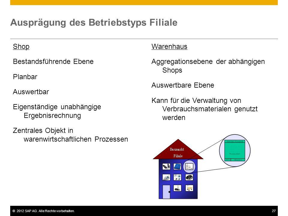 ©2012 SAP AG. Alle Rechte vorbehalten.27 Ausprägung des Betriebstyps Filiale Shop Bestandsführende Ebene Planbar Auswertbar Eigenständige unabhängige