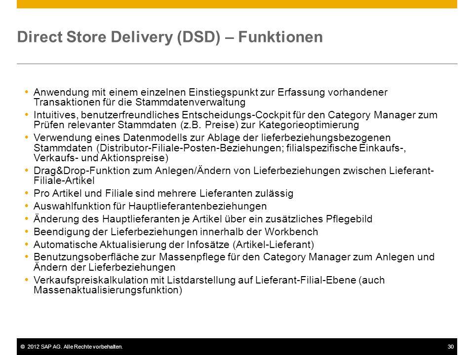 ©2012 SAP AG. Alle Rechte vorbehalten.30 Direct Store Delivery (DSD) – Funktionen  Anwendung mit einem einzelnen Einstiegspunkt zur Erfassung vorhand