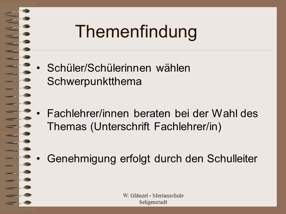 W. Glänzel - Merianschule Seligenstadt Themenfindung Schüler/Schülerinnen wählen Schwerpunktthema Fachlehrer/innen beraten bei der Wahl des Themas (Un
