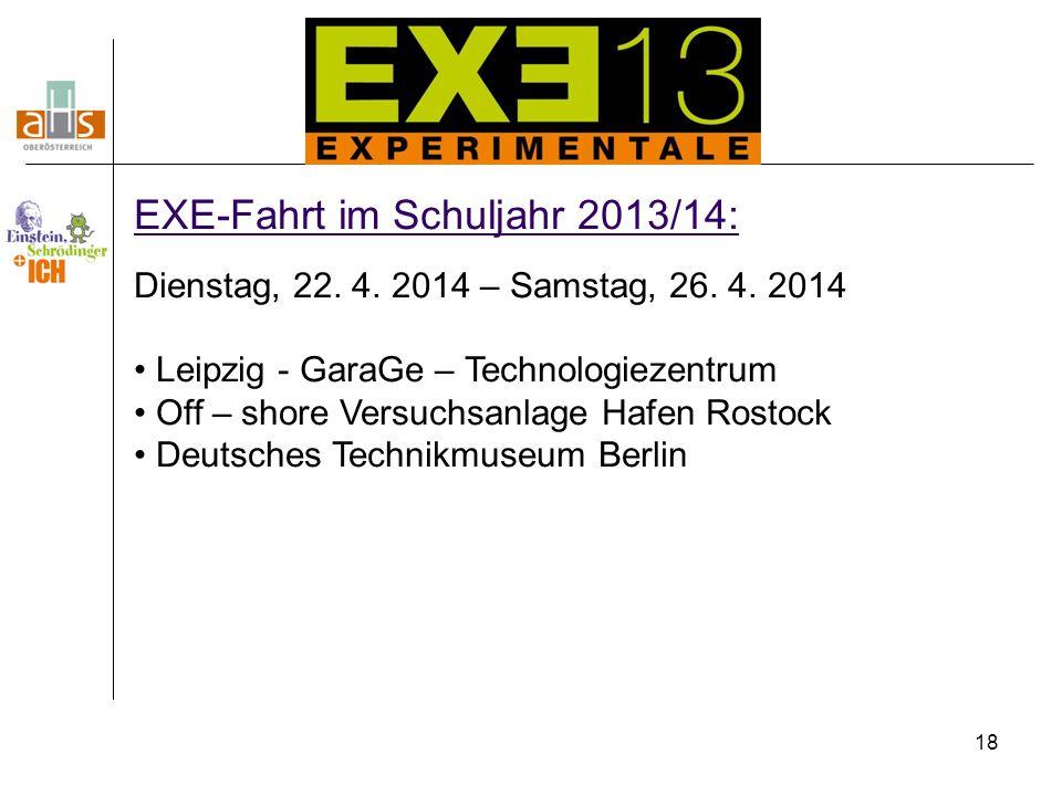 18 EXE-Fahrt im Schuljahr 2013/14: Dienstag, 22. 4. 2014 – Samstag, 26. 4. 2014 Leipzig - GaraGe – Technologiezentrum Off – shore Versuchsanlage Hafen