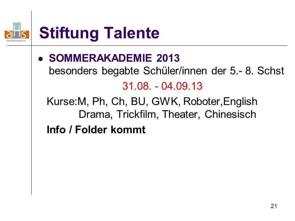 21 Stiftung Talente SOMMERAKADEMIE 2013 besonders begabte Schüler/innen der 5.- 8. Schst 31.08. - 04.09.13 Kurse:M, Ph, Ch, BU, GWK, Roboter,English D