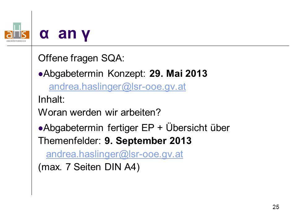 25 α an γ Offene fragen SQA: Abgabetermin Konzept: 29. Mai 2013 andrea.haslinger@lsr-ooe.gv.at Inhalt: Woran werden wir arbeiten?andrea.haslinger@lsr-