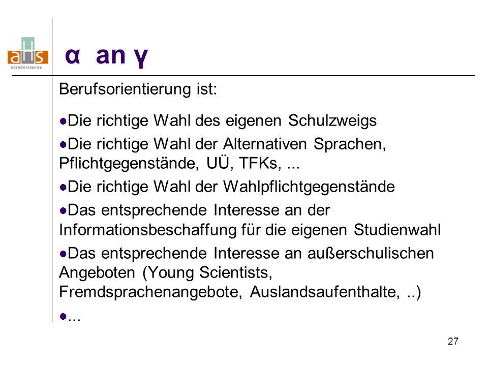 27 α an γ Berufsorientierung ist: Die richtige Wahl des eigenen Schulzweigs Die richtige Wahl der Alternativen Sprachen, Pflichtgegenstände, UÜ, TFKs,