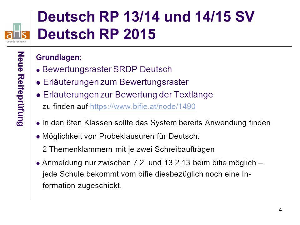 4 Deutsch RP 13/14 und 14/15 SV Deutsch RP 2015 Neue Reifeprüfung Grundlagen: Bewertungsraster SRDP Deutsch Erläuterungen zum Bewertungsraster Erläute