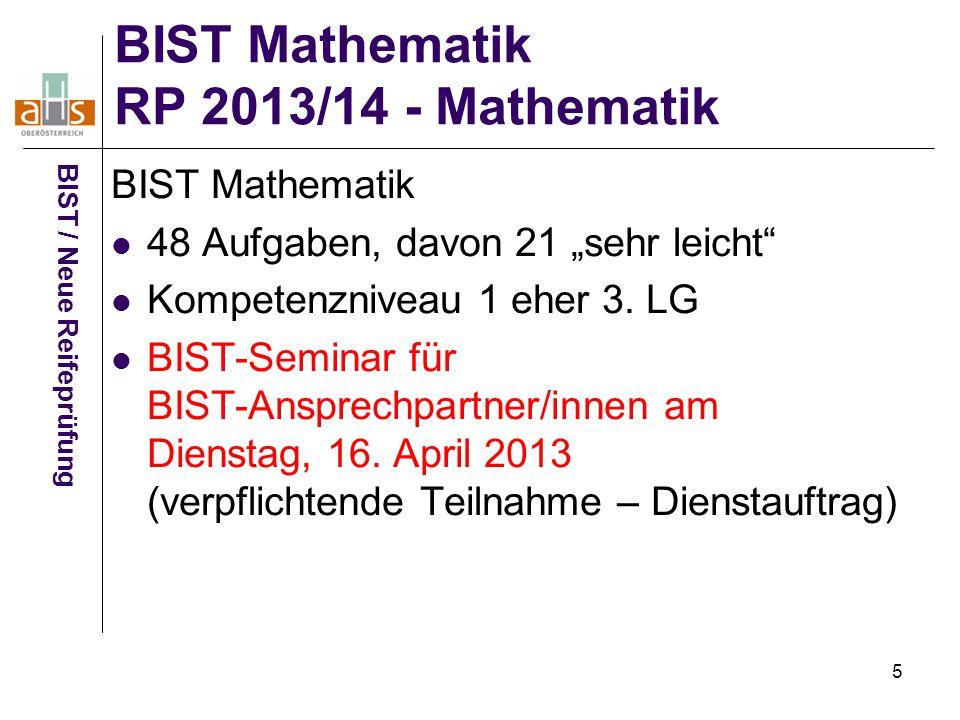 """5 BIST Mathematik RP 2013/14 - Mathematik BIST / Neue Reifeprüfung BIST Mathematik 48 Aufgaben, davon 21 """"sehr leicht"""" Kompetenzniveau 1 eher 3. LG BI"""