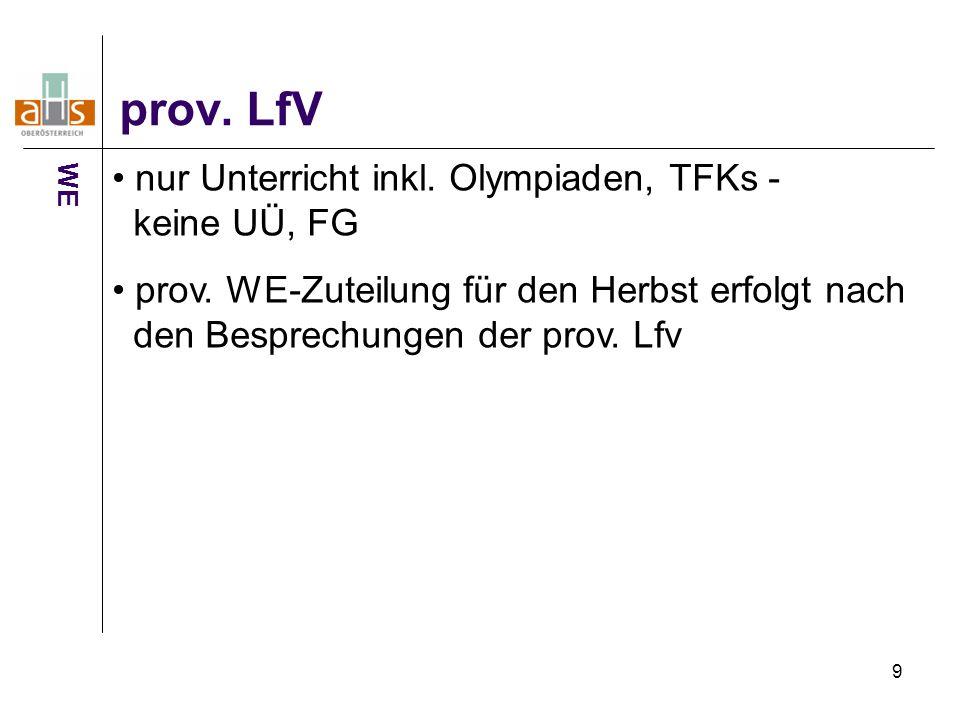 9 prov. LfV WE nur Unterricht inkl. Olympiaden, TFKs - keine UÜ, FG prov. WE-Zuteilung für den Herbst erfolgt nach den Besprechungen der prov. Lfv