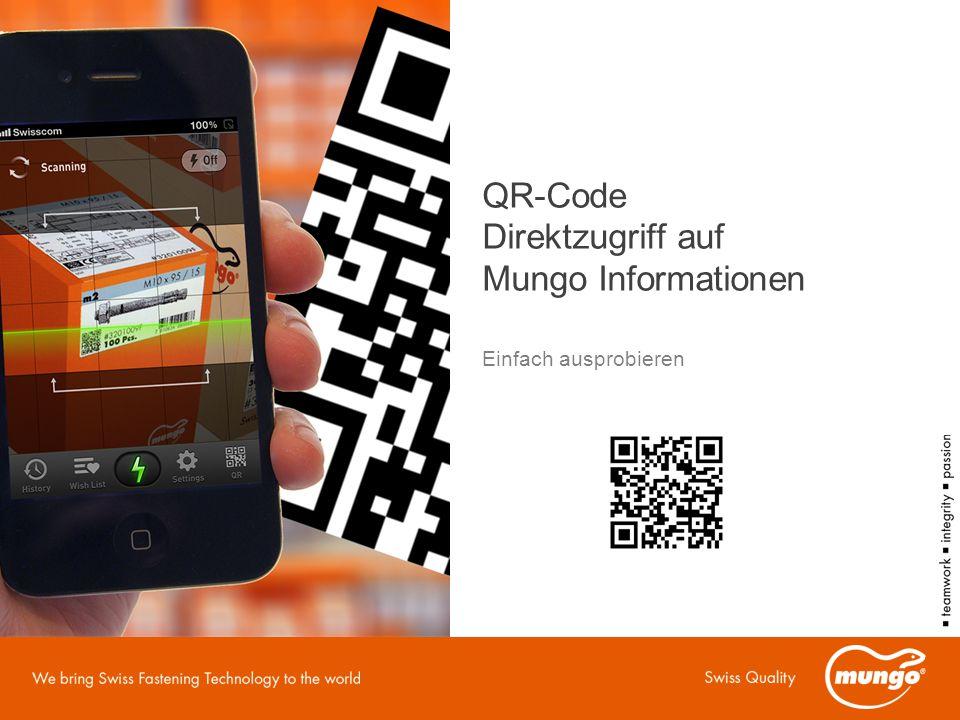 QR-Code Direktzugriff auf Mungo Informationen Einfach ausprobieren