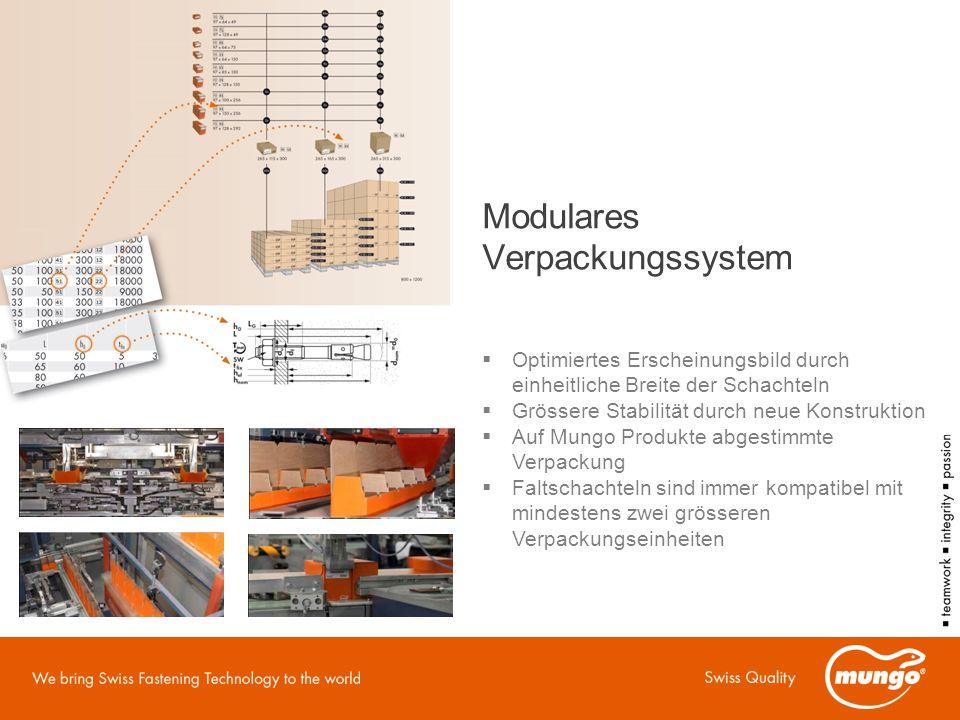 Modulares Verpackungssystem  Optimiertes Erscheinungsbild durch einheitliche Breite der Schachteln  Grössere Stabilität durch neue Konstruktion  Auf Mungo Produkte abgestimmte Verpackung  Faltschachteln sind immer kompatibel mit mindestens zwei grösseren Verpackungseinheiten