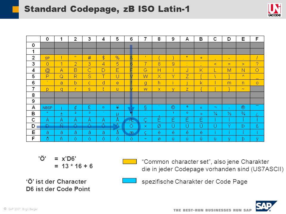 """ SAP 2007, Birgit Berger """"Common character set"""", also jene Charakter die in jeder Codepage vorhanden sind (US7ASCII) spezifische Charakter der Code P"""