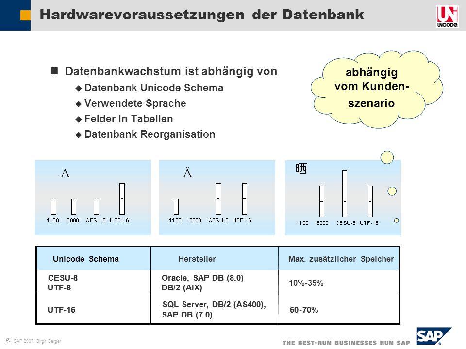  SAP 2007, Birgit Berger Hardwarevoraussetzungen der Datenbank Datenbankwachstum ist abhängig von  Datenbank Unicode Schema  Verwendete Sprache  F