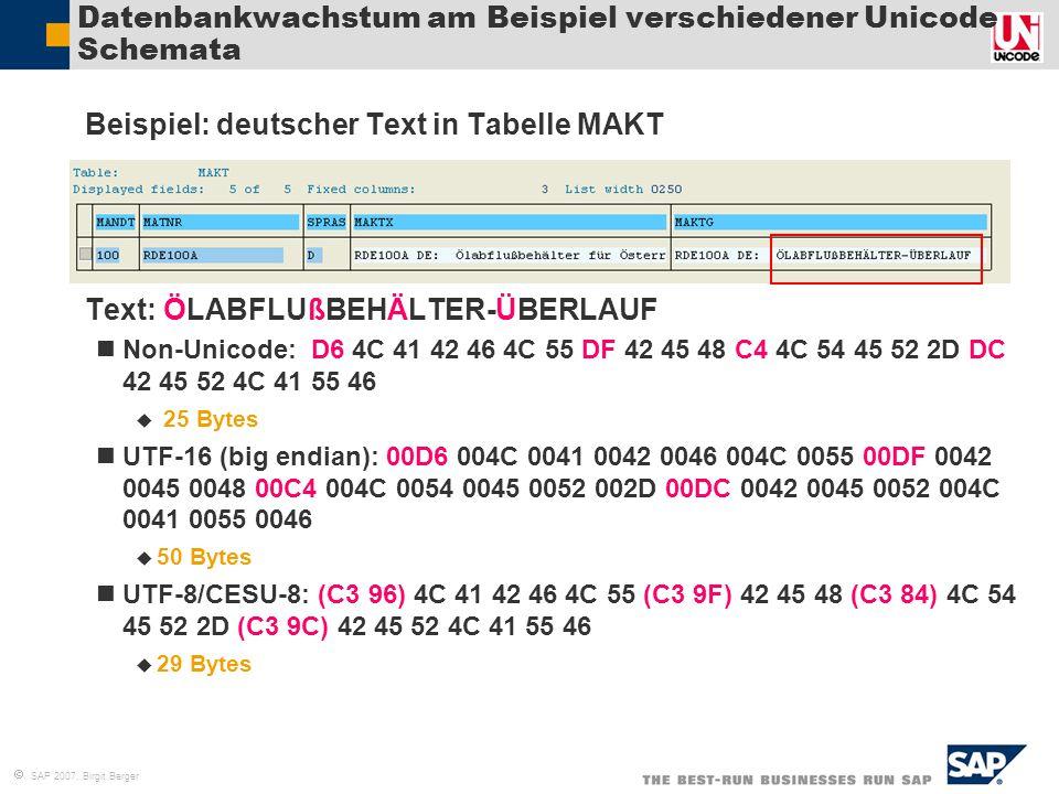  SAP 2007, Birgit Berger Datenbankwachstum am Beispiel verschiedener Unicode Schemata  Beispiel: deutscher Text in Tabelle MAKT  Text: ÖLABFLUßBEHÄ