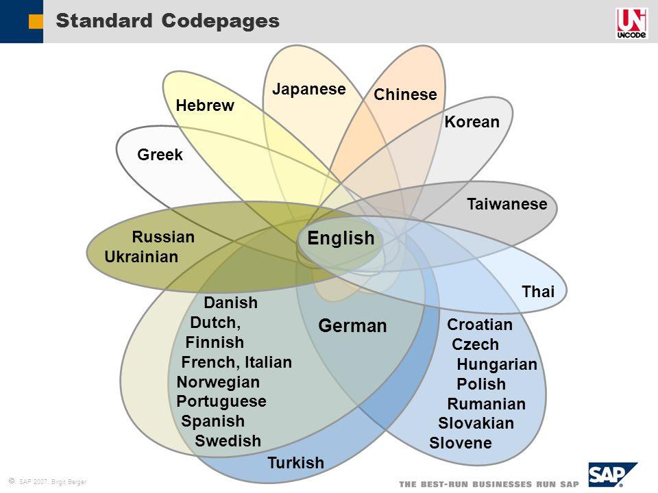  SAP 2007, Birgit Berger Standard Codepages Turkish Croatian Czech Hungarian Polish Rumanian Slovakian Slovene English German Danish Dutch, Finnish F
