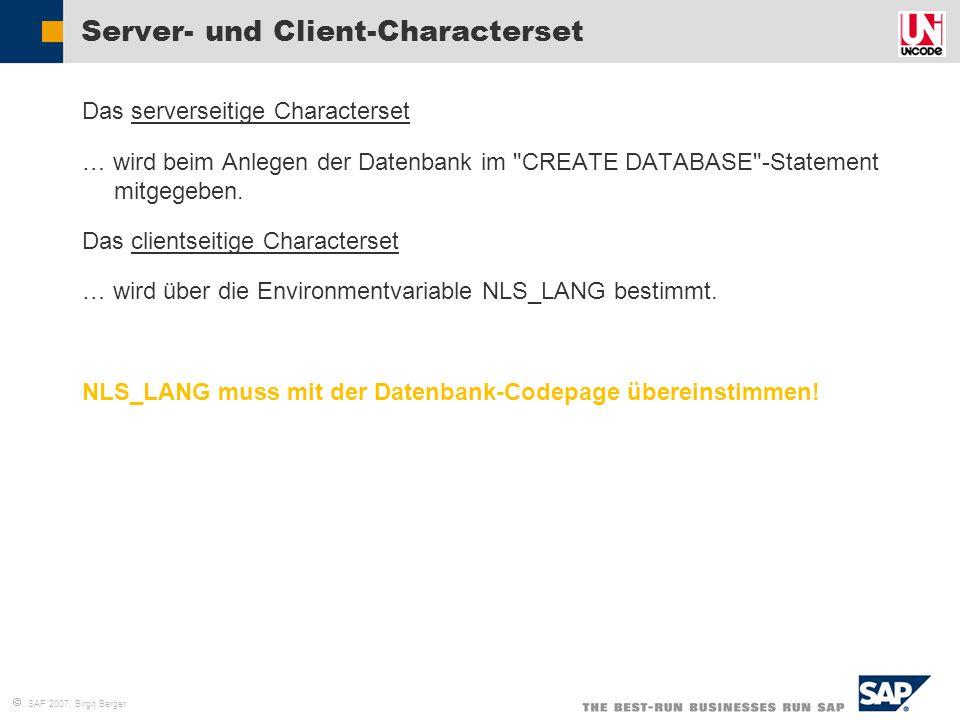  SAP 2007, Birgit Berger Server- und Client-Characterset  Das serverseitige Characterset  … wird beim Anlegen der Datenbank im