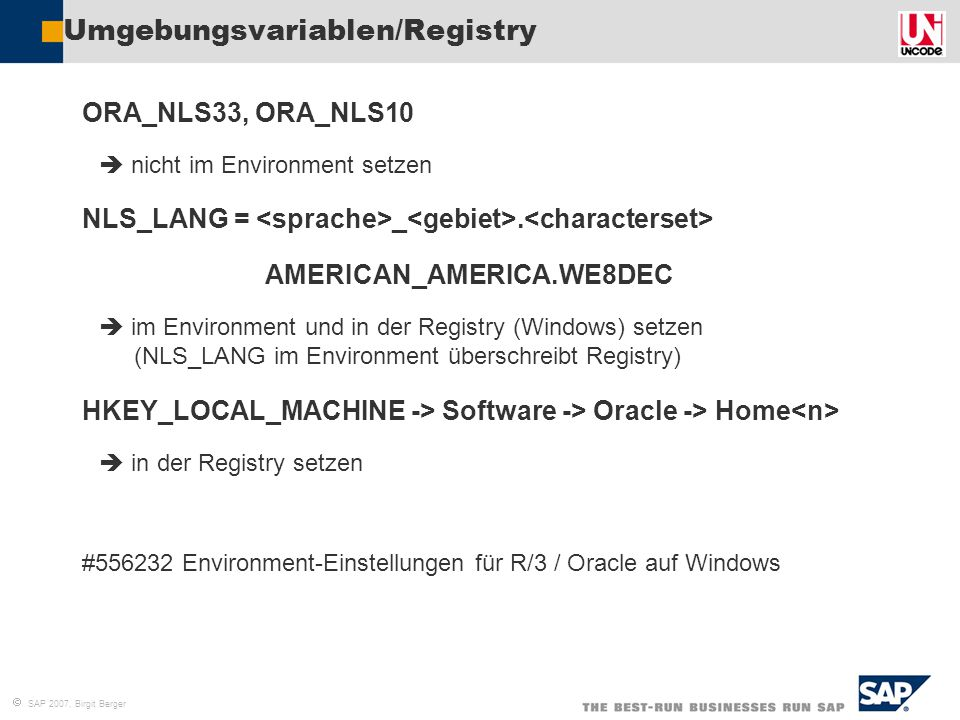  SAP 2007, Birgit Berger Umgebungsvariablen/Registry  ORA_NLS33, ORA_NLS10   nicht im Environment setzen  NLS_LANG = _.  AMERICAN_AMERICA.WE8DEC