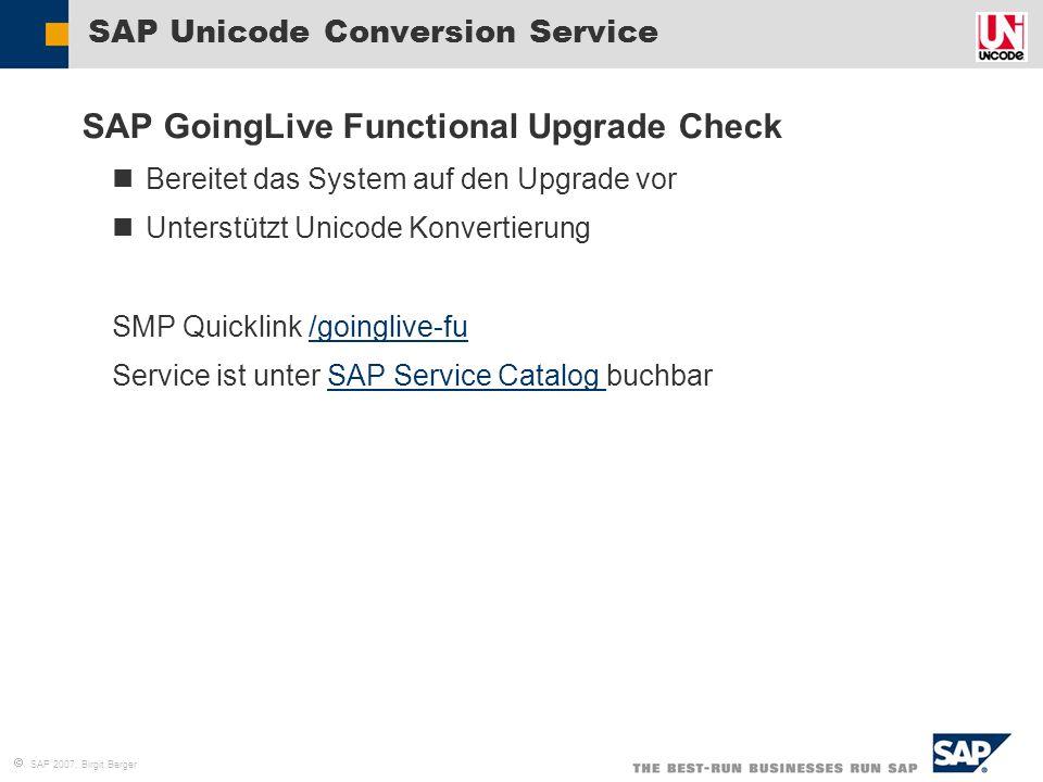  SAP 2007, Birgit Berger SAP Unicode Conversion Service SAP GoingLive Functional Upgrade Check Bereitet das System auf den Upgrade vor Unterstützt Un