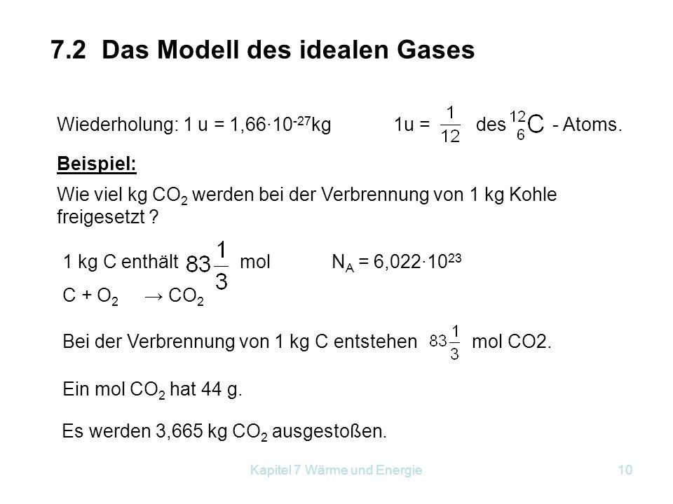 Kapitel 7 Wärme und Energie10 7.2 Das Modell des idealen Gases Wiederholung: 1 u = 1,66·10 -27 kg1u = des - Atoms. Wie viel kg CO 2 werden bei der Ver