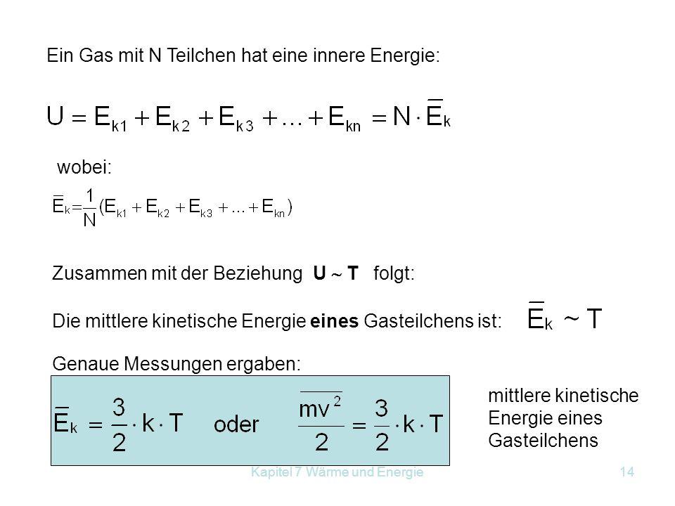 Kapitel 7 Wärme und Energie14 Ein Gas mit N Teilchen hat eine innere Energie: wobei: Zusammen mit der Beziehung U  T folgt: Die mittlere kinetische E