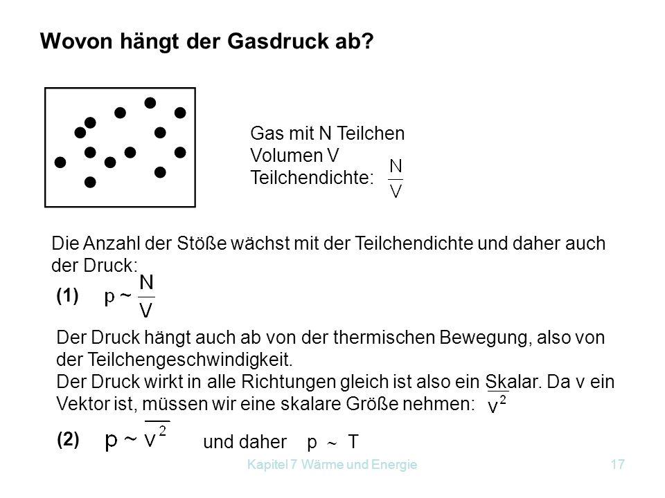 Kapitel 7 Wärme und Energie17 Wovon hängt der Gasdruck ab? Gas mit N Teilchen Volumen V Teilchendichte: Die Anzahl der Stöße wächst mit der Teilchendi