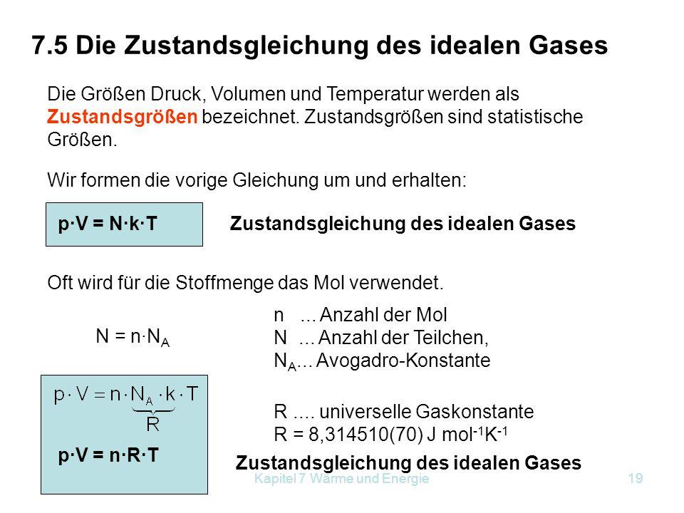 Kapitel 7 Wärme und Energie19 7.5 Die Zustandsgleichung des idealen Gases Die Größen Druck, Volumen und Temperatur werden als Zustandsgrößen bezeichne