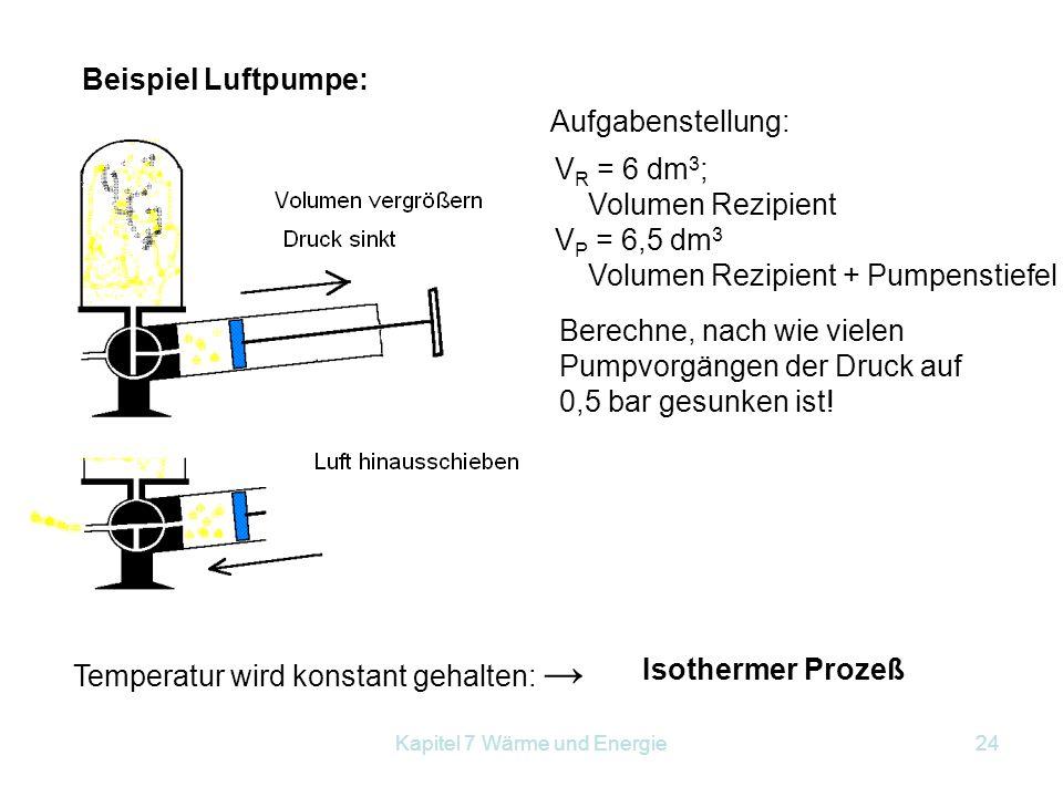 Kapitel 7 Wärme und Energie24 Beispiel Luftpumpe: V R = 6 dm 3 ; Volumen Rezipient V P = 6,5 dm 3 Volumen Rezipient + Pumpenstiefel Berechne, nach wie