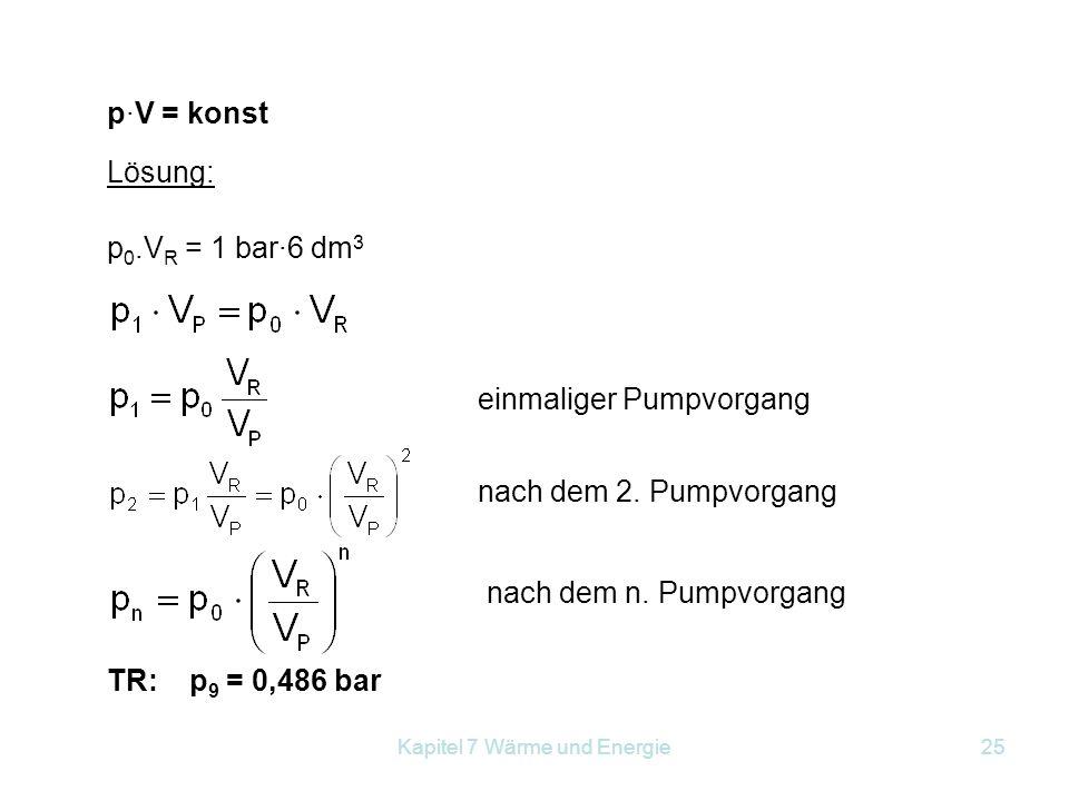 Kapitel 7 Wärme und Energie25 p·V = konst Lösung: p 0.V R = 1 bar·6 dm 3 einmaliger Pumpvorgang nach dem 2. Pumpvorgang nach dem n. Pumpvorgang TR: p