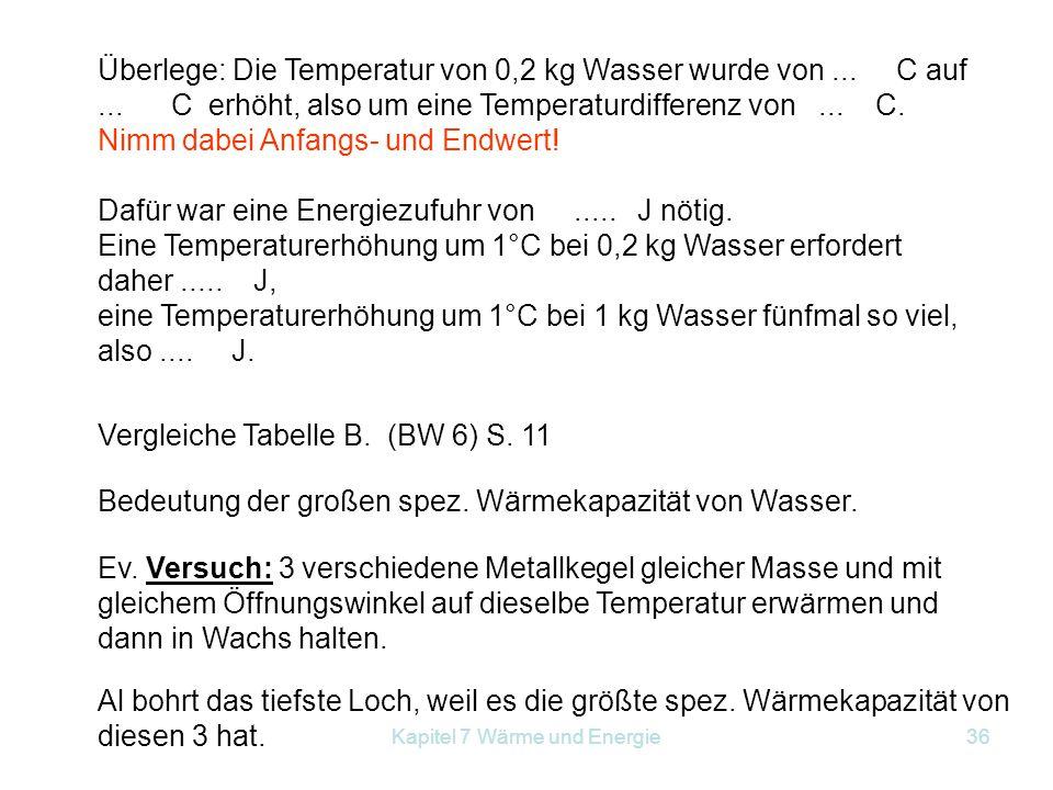 Kapitel 7 Wärme und Energie36 Überlege: Die Temperatur von 0,2 kg Wasser wurde von... C auf... C erhöht, also um eine Temperaturdifferenz von... C. Ni