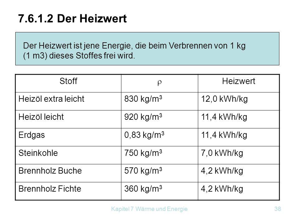 Kapitel 7 Wärme und Energie38 7.6.1.2 Der Heizwert Der Heizwert ist jene Energie, die beim Verbrennen von 1 kg (1 m3) dieses Stoffes frei wird. Stoff