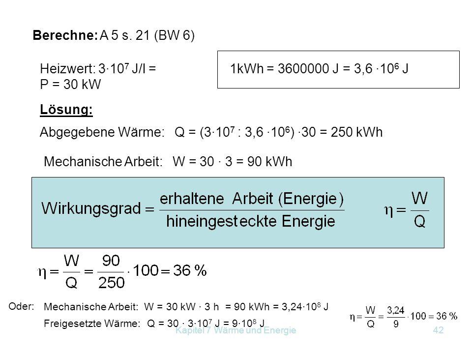 Kapitel 7 Wärme und Energie42 Berechne: A 5 s. 21 (BW 6) Heizwert: 3·10 7 J/l = P = 30 kW 1kWh = 3600000 J = 3,6 ·10 6 J Abgegebene Wärme: Q = (3·10 7