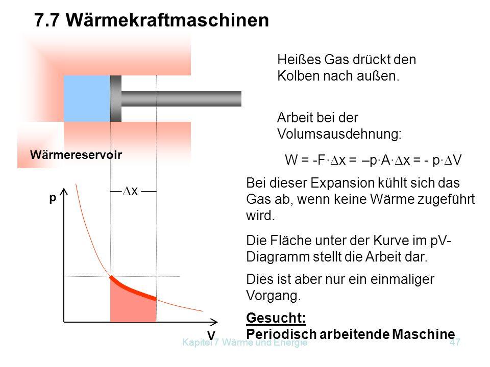 Kapitel 7 Wärme und Energie47 Wärmereservoir p V Heißes Gas drückt den Kolben nach außen. 7.7 Wärmekraftmaschinen Arbeit bei der Volumsausdehnung: W =