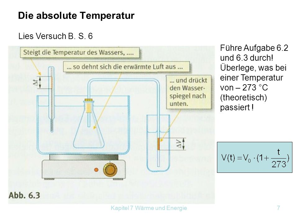 Kapitel 7 Wärme und Energie7 Die absolute Temperatur Lies Versuch B. S. 6 Führe Aufgabe 6.2 und 6.3 durch! Überlege, was bei einer Temperatur von – 27