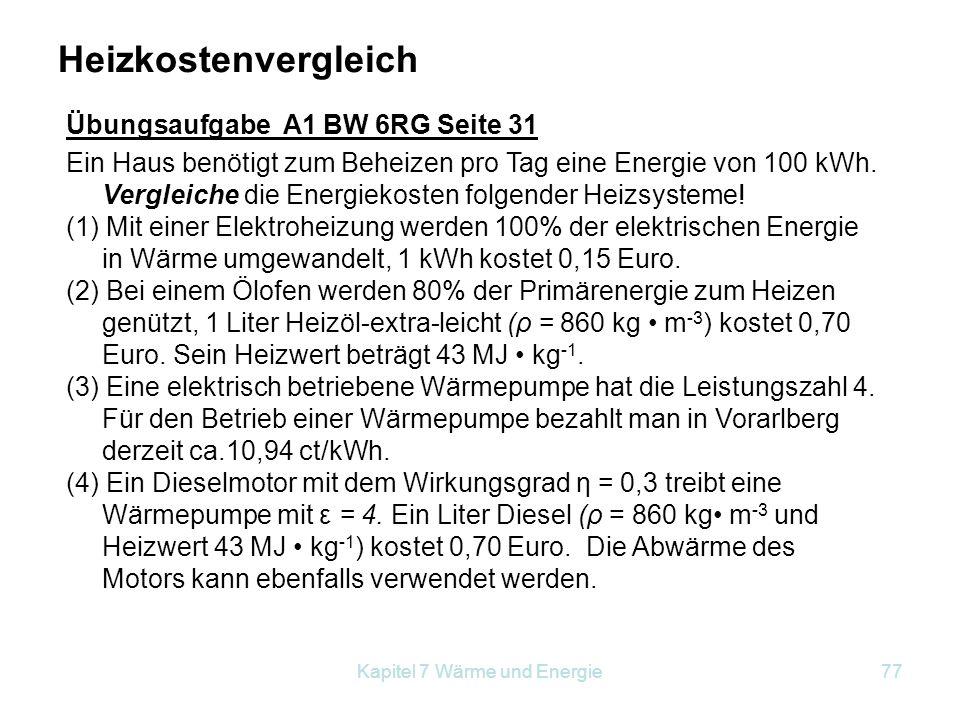 Kapitel 7 Wärme und Energie77 Ein Haus benötigt zum Beheizen pro Tag eine Energie von 100 kWh. Vergleiche die Energiekosten folgender Heizsysteme! (1)