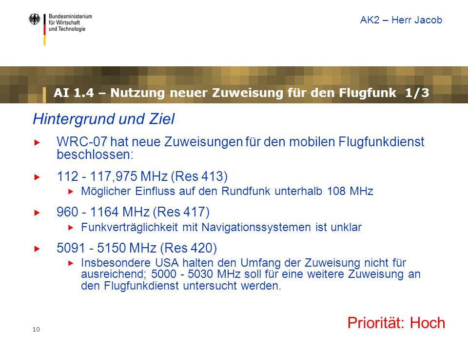 10 AI 1.4 – Nutzung neuer Zuweisung für den Flugfunk 1/3 Hintergrund und Ziel  WRC-07 hat neue Zuweisungen für den mobilen Flugfunkdienst beschlossen:  112 - 117,975 MHz (Res 413)  Möglicher Einfluss auf den Rundfunk unterhalb 108 MHz  960 - 1164 MHz (Res 417)  Funkverträglichkeit mit Navigationssystemen ist unklar  5091 - 5150 MHz (Res 420)  Insbesondere USA halten den Umfang der Zuweisung nicht für ausreichend; 5000 - 5030 MHz soll für eine weitere Zuweisung an den Flugfunkdienst untersucht werden.