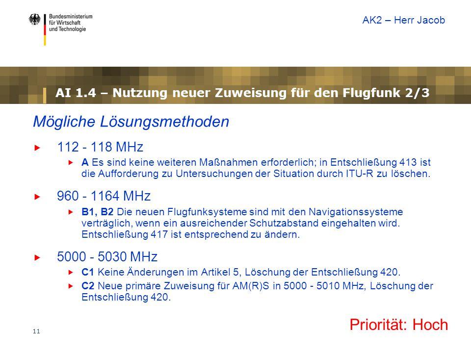 11 AI 1.4 – Nutzung neuer Zuweisung für den Flugfunk 2/3 Mögliche Lösungsmethoden  112 - 118 MHz  A Es sind keine weiteren Maßnahmen erforderlich; in Entschließung 413 ist die Aufforderung zu Untersuchungen der Situation durch ITU-R zu löschen.